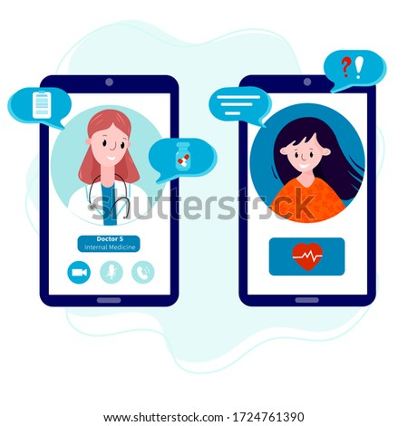 Young Woman talking by mobile phone with a doctor online from home. Concept of telemedicine, distant consultation service during pandemic. Doctor with patient meet online.