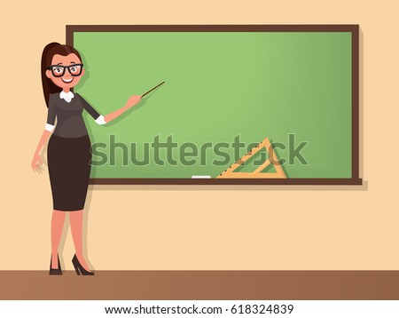 Young woman teacher stands at a blackboard with a pointer. Template for the school timetable and other information. Vector illustration in cartoon style