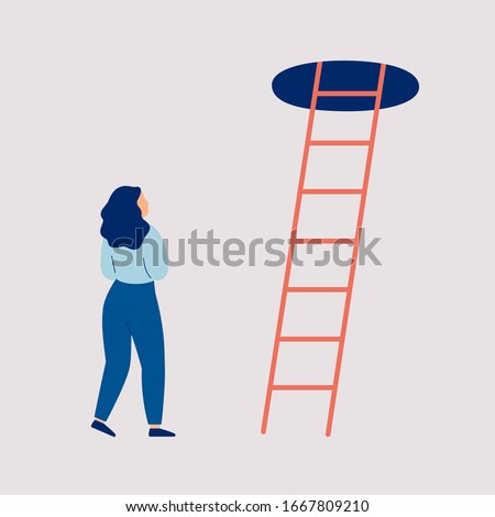 Young woman thinks to make a next step into the future. Girl in doubt and indecision stands of the stairs to the top. Concept of a difficult choice, decision making. Colorful vector Photo stock ©