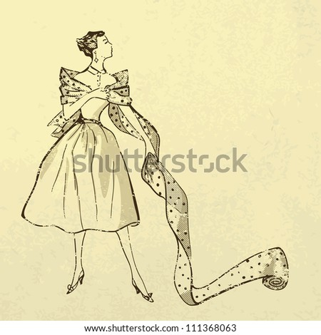 Young woman try on fabric. Retro style