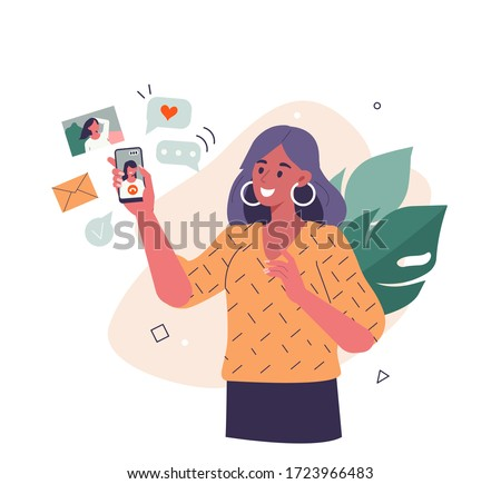 Young Woman use Smartphone and Surfing in Social Media. Girl Chatting, Watching Video, Liking Photos and Make Video Call with Friends in Mobile App. Flat Cartoon Vector Illustration.