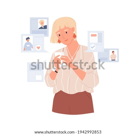 Young woman using dating app on mobile phone for finding boyfriend. Person with smartphone seeking for couple online. Colored flat vector illustration of date application isolated on white background Stock photo ©