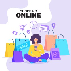Young woman using mobile phone for shopping online. Woman doing online shopping. Happy customer sitting with shopping bags around him. Vector EPS10.