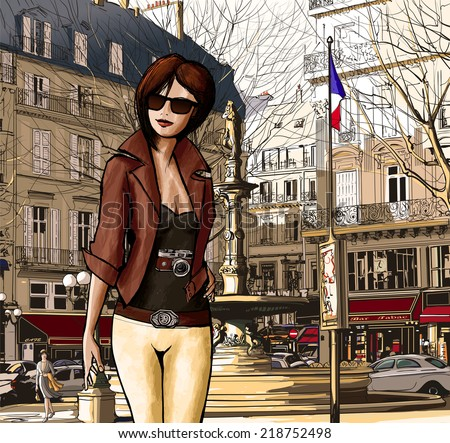 Young woman visiting Paris in Palais Royal - Vector illustration
