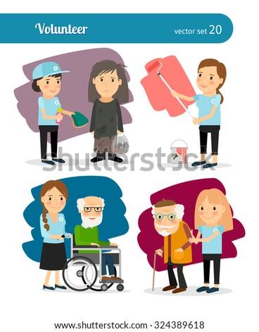 Young woman volunteer characters. Vector volunteers illustration