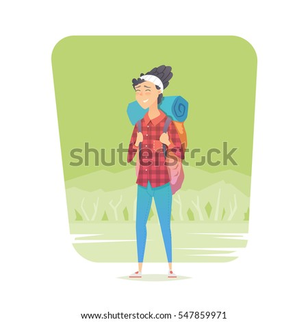 young woman walking alone on a