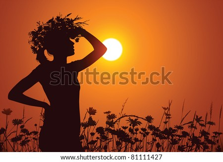 young woman wearing a wreath of