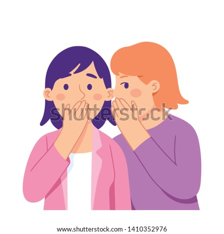 young woman whispering to her friend and surprise her, young woman listening a gossip from her friend, gossip girl  concept vector illustratio character