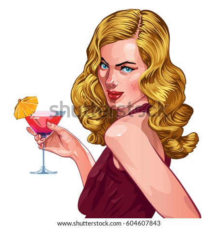 young woman with a cocktail...
