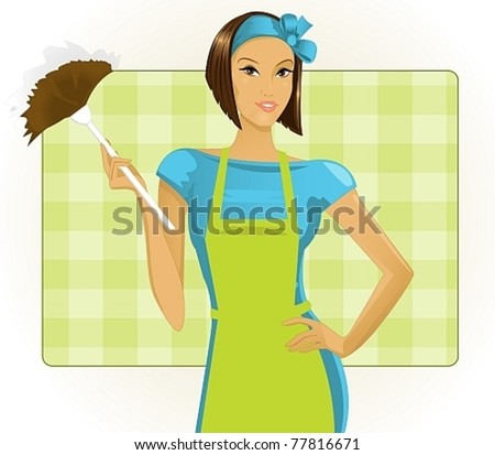young woman with a duster