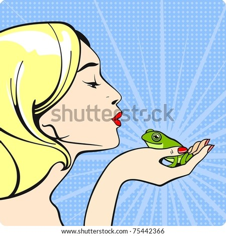 Young woman with a frog