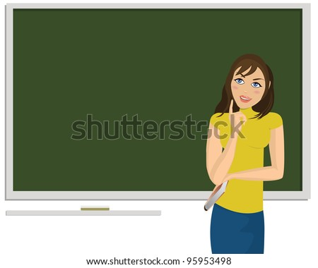 Young woman with blackboard behind her and book in her hand