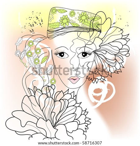 Young woman with decorative floral element