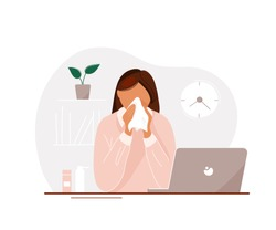 Young woman with flu sitting at laptop in office until late and blowing her nose. Flat cartoon modern trendy style.Vector illustration character icon. Sick office worker concept.