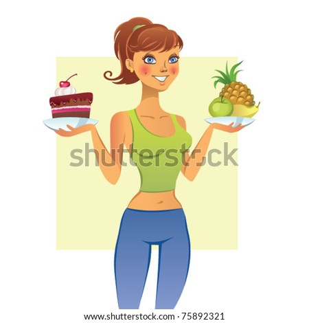 Young woman with fruits and cake