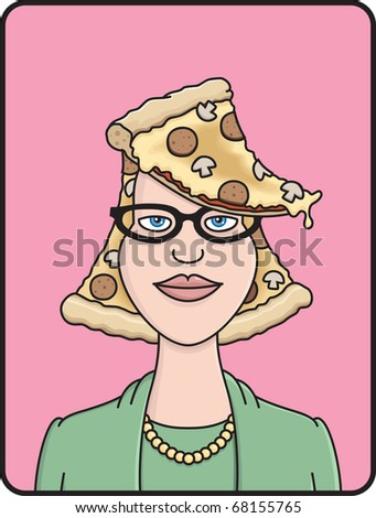 Young woman with glasses and pizza for hair
