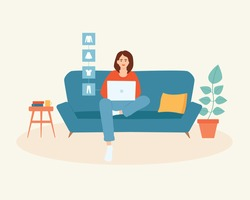 Young woman with laptop sitting on the couch doing online shopping, buying clothes. Online shopping concept. Customer selects to order. E-commerce.  Cute vector illustration in cartoon flat style