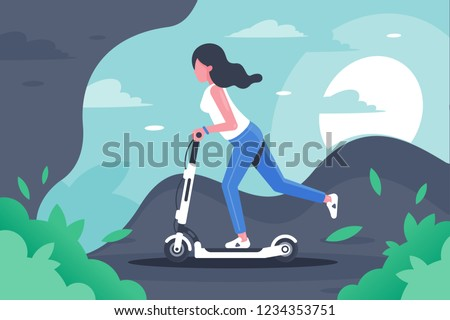 Young woman with long hair on electronic scooter. Concept girl silhouette is engaged in leisure, entertainment, vehicle. Vector illustration.