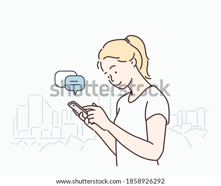 Young woman with smartphone.   Hand drawn style vector design illustrations.