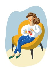 Young woman with smartphone sit in armchair. Girl networking, browsing, watching video, chatting. People and gadget addiction. Online activity, social media, internet communication. Vector