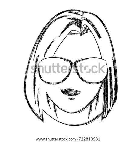 Young woman with sunglasses cartoon