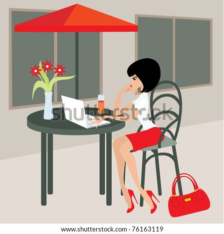 Young woman with the laptop in cafe.  Vector illustration, no gradient