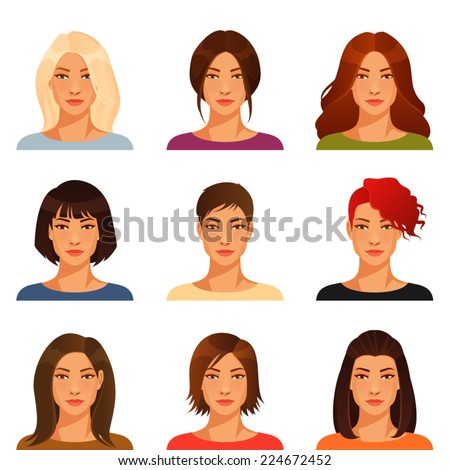 young woman with various