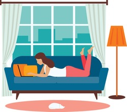 Young woman working on a laptop from home. Vector illustration