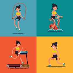 Young woman workout. Creative vector character design on fitness, exercise and training with caucasian woman doing skipping rope, stationary bike, treadmill and weights