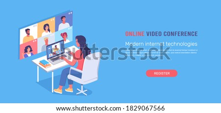 Young woman works online using video conference technologies isometric vector illustration