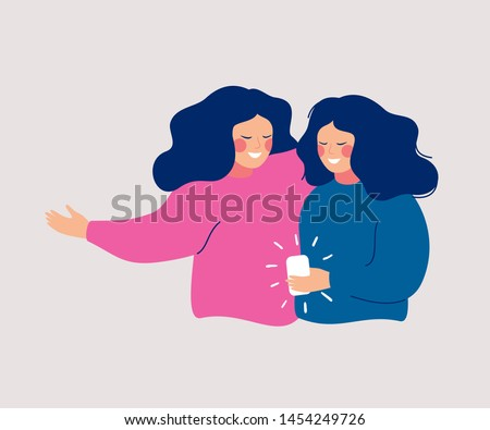 Young women embrace each other and hold smartphone and texting, talking, listening to music, taking selfie. Flat vector concept of smartphone usability and refer a friend.