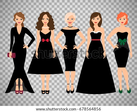 young women in different black
