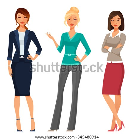 young women in elegant office