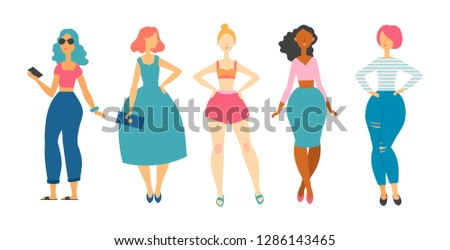 young women in fashion clothes. vector illustration. Female characters.