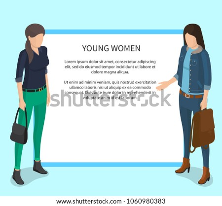 young women poster with white