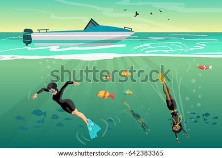 young women scuba diver dives