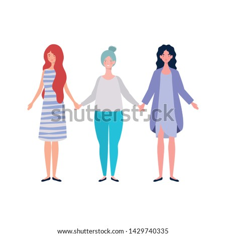 young women standing on white background #1429740335