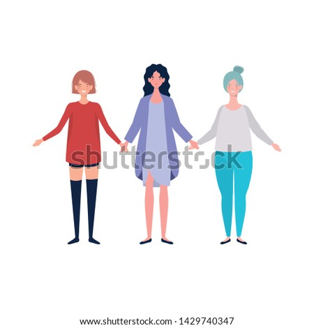 young women standing on white background #1429740347