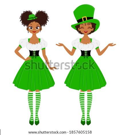young women wearing green hats
