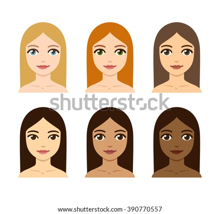 young women with different skin