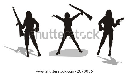 young women with firearms - vector illustration