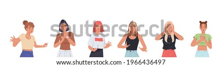 Young women with shocked face expression set. Surprised and amazed person cartoon style vector illustration Stockfoto ©
