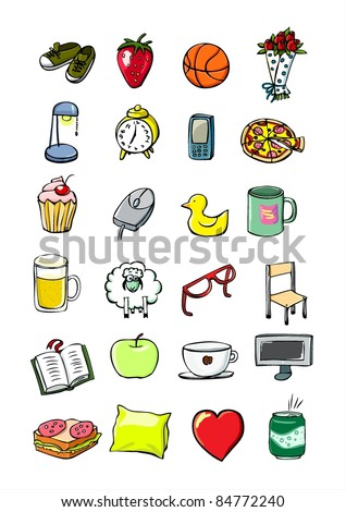 Youngster's things, student's life everyday doodle things: sneakers, strawberry, basketball, roses, lamp, alarm clock, phone, mobile, pizza etc. Hand drawn icons. Vector.