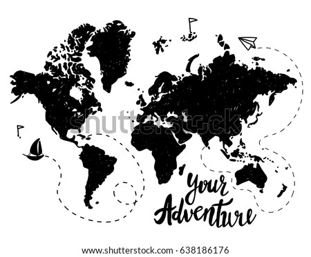 Free world map ship vector download free vector art stock vector eps10 your adventure drawing by hand childrens drawing world map geographical map gumiabroncs Choice Image