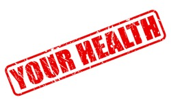 YOUR HEALTH red stamp text on white