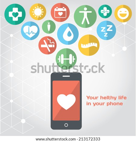Your healthy life in your phone, health illustration. Vector modern flat design element