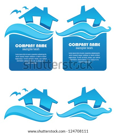your home near the ocean, property and real estate symbols