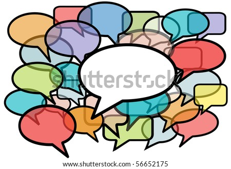 Your message is heard above social media network noise in speech bubble copy space background.