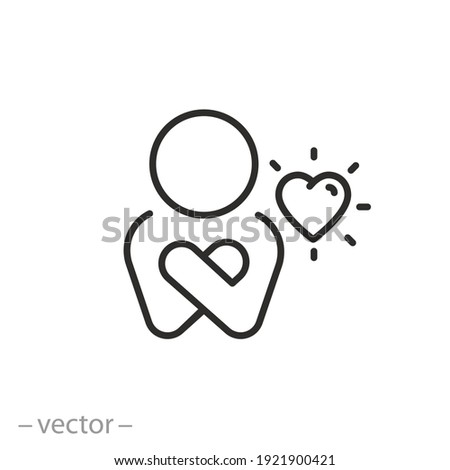 your self care icon, love my body and life, positive inspiration, yourself relationship, happy selfish person, thin line symbol on white background - editable stroke vector illustration  Stock photo ©
