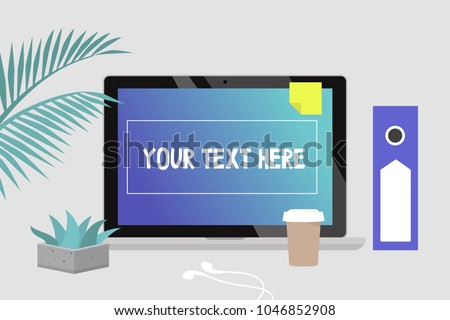 Your Text Here Office Still Life Laptop With Gradient Wallpaper Stationery Daily